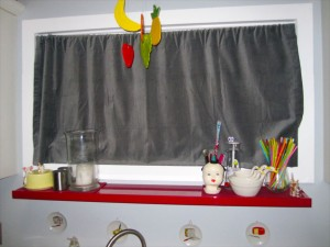 Gray Curtain in Kitchen Closed