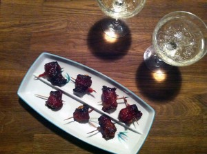 Bacon Wrapped Water Chestnuts with Champagne